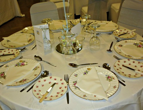 Wedding With Vintage China Settings for 80 People