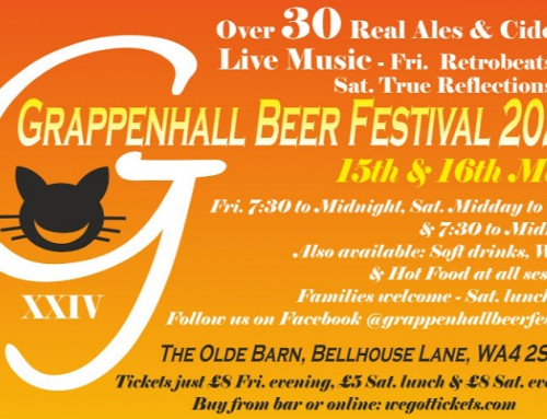 CANCELLED – 24th Annual Grappenhall Beer Festival 15th & 16th May 2020
